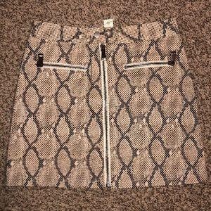 Snake skin mini skirt